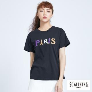 【SOMETHING】字母配色圓領短袖T恤-女款(黑色)