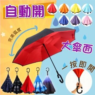 【SINEW】自動開_第七代新C型反向傘(1入晴雨兩用_不溼身反折傘/反開傘)