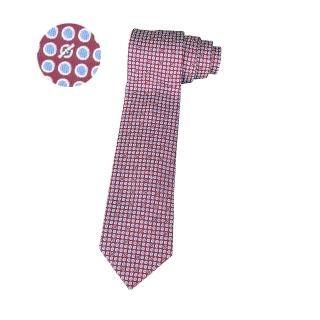【Hermes 愛馬仕】HERMES愛馬仕LOOPS經典緹花LOGO圓圈設計蠶絲領帶(紅)