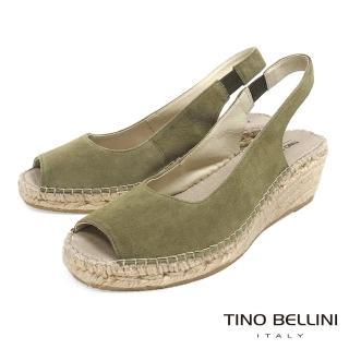 【TINO BELLINI 貝里尼】西班牙進口簡約麂皮魚口麻編楔型涼鞋A83043A(綠)