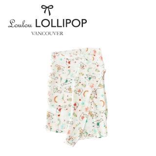 【Loulou lollipop】加拿大 竹纖維透氣包巾120x120cm(彩虹草泥馬)
