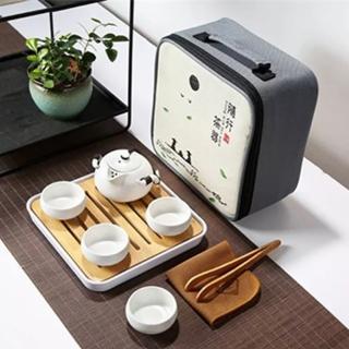 【原藝坊】陶瓷乾泡旅行茶具套裝組(兩色任選)