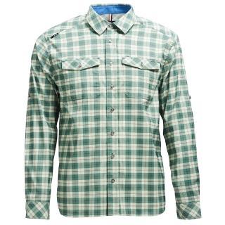 【Wildland 荒野】男彈性抗UV格子長袖襯衫(灰綠色)