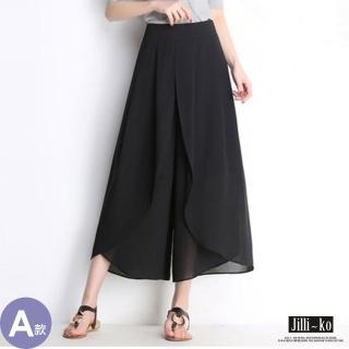 【JILLI-KO】高腰雪紡層次闊腿褲-L/XL(黑)