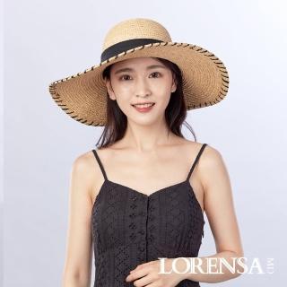 【Lorensa蘿芮】天然拉菲亞草大帽簷椰殼裝飾遮陽草帽(11公分帽簷)