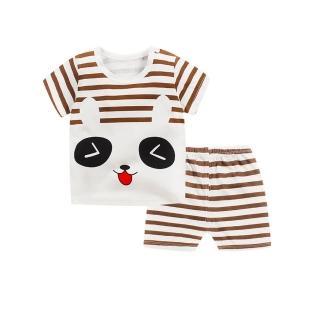 【Baby童衣】任選 兒童套裝睡衣家居服卡通T恤短袖短褲2件套 88113(咖啡熊)