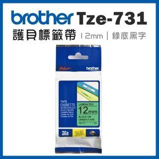 【brother】TZe-731★護貝標籤帶 12mm 綠底黑字(速達)