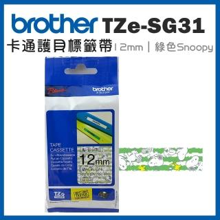 【brother】TZe-SG31★護貝標籤帶 12mm 綠底Snoopy(速達)