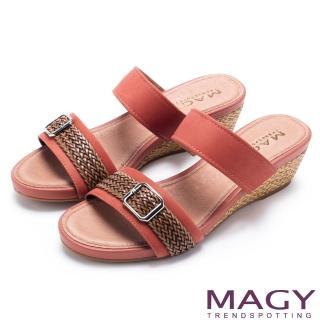 【MAGY】異國渡假風 質感真皮編織楔型拖鞋(橘色)