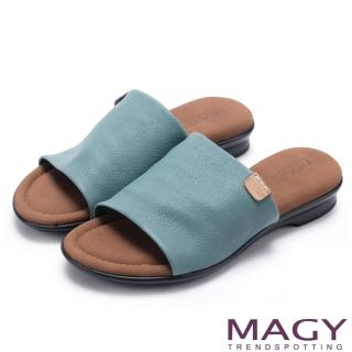 【MAGY】簡約夏日 超軟皮革寬版一字平底拖鞋(藍色)