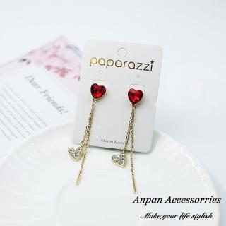 【Anpan】925銀針韓東大門CHIC甜美水晶雙愛心耳環