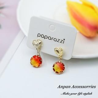 【Anpan】韓東大門甜美愛心彩色水晶925銀針耳釘式耳環