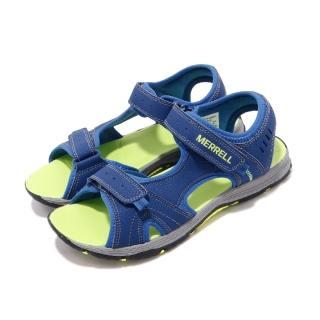 【MERRELL】涼拖鞋 Panther Sandal 運動 女鞋 輕便 夏日 耐磨 穿搭 中大童 易穿脫 藍 綠(MK261236)