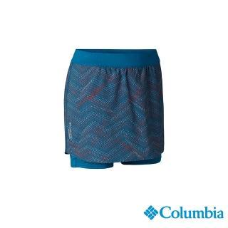 【Columbia 哥倫比亞】女款-野跑 UPF40涼感快排褲裙孔雀藍(UAR26770PC / 涼感.排汗.防曬)
