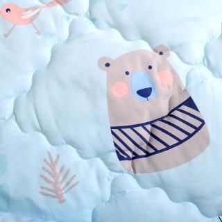 【Embrace 英柏絲】白兔與熊-Tencel天絲 吸濕排汗 兒童三件組 幼兒園午睡必備(鋪棉床墊+涼被+童枕)