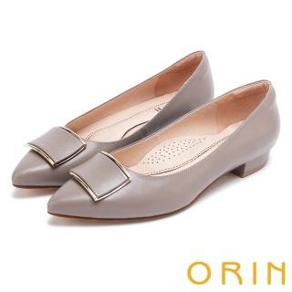 【ORIN】復刻經典 柔軟羊皮金屬方扣尖頭粗低跟鞋(可可)