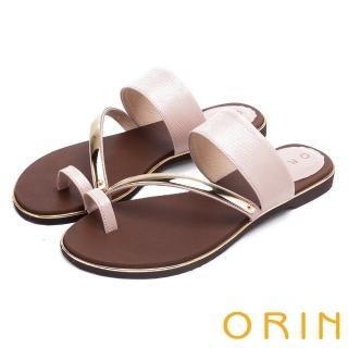 【ORIN】夏日時尚風 金屬斜邊飾條牛皮套指拖鞋(粉紅)