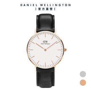 【Daniel Wellington】官方直營 Classic Sheffield 36mm爵士黑真皮皮革錶(DW手錶DW00100036)