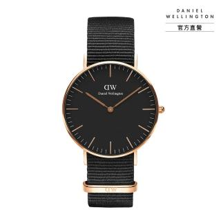 【Daniel Wellington】官方直營 Classic Cornwall 36mm寂靜黑織紋錶(DW手錶DW00100150)