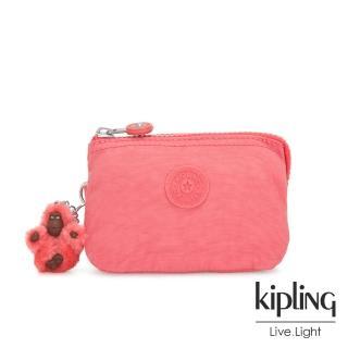 【KIPLING】甜美蜜桃橘素面三夾層配件包-CREATIVITY S