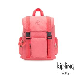 【KIPLING】甜美蜜桃橘素面插扣束口掀蓋式後背包-IZIR