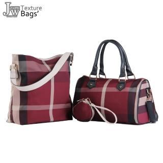 【JW】經典英倫格紋名品風手波士頓包(共3色)