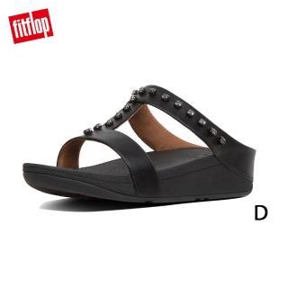【FitFlop】FINO TREASURE H-SLIDES H型立體金屬珠飾涼鞋(黑色)