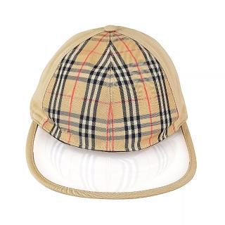 【BURBERRY 巴寶莉】BURBERRY VINTAGE格紋帆布棒球帽(沙棕)