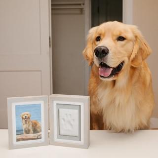 【Pearhead】淺灰色相框寵物腳印拓印組(最有紀念價值的禮品)