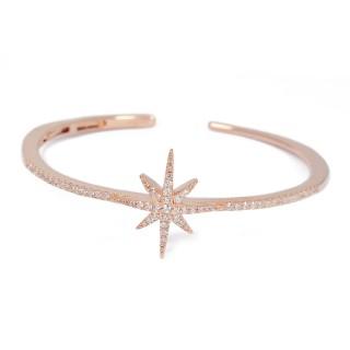 【apm MONACO】法國精品珠寶 閃耀玫瑰金繁星鑲鋯C字開口手環手鐲(RB3283OX)