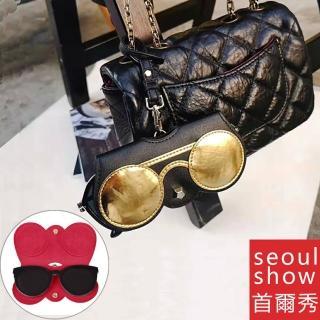 【Seoul Show首爾秀】黑金圓眼鏡外掛墨鏡收納包光學眼鏡保護夾太陽眼鏡盒(墨鏡平光近視老花)