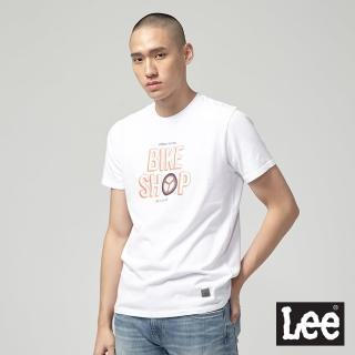 【Lee】Lee U.R. BIKESHOP 輪胎短袖圓領T恤/UR-白(白)