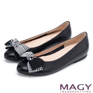 【MAGY】甜美舒適款 布面格紋蝴蝶結拼接牛皮平底鞋(黑色)