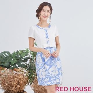【RED HOUSE 蕾赫斯】花朵假兩件洋裝(淺藍色)