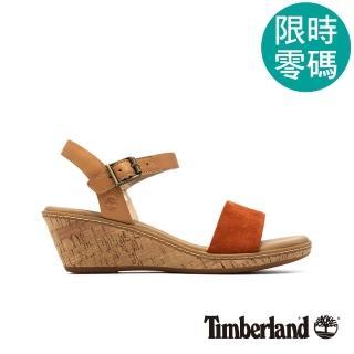 【Timberland】女款橘紅一字繫帶楔型涼鞋(A1VBK101)
