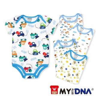 【MY+DNA熊本部】純棉包屁衣五件組 短袖男款(B0002-01)
