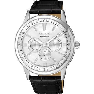【CITIZEN 星辰】光動能日曆手錶-銀x黑/ 44mm(BU2071-01A)