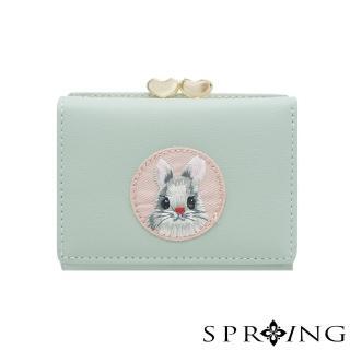 【SPRING】甜萌愛心扣刺繡兔兔短夾(柔和綠)