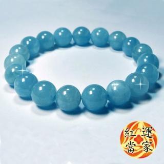 【紅運當家】頂級 巴西 海藍寶圓珠手鍊(直徑12mm)