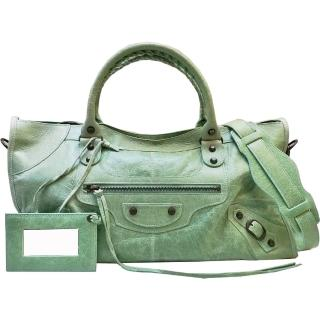 【Balenciaga 巴黎世家】168028.3403 經典Part-time小釦機車包(薄荷綠色)