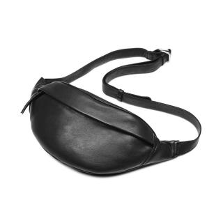 【MARKBERG】Tova 丹麥手工牛皮個性托瓦腰包 胸包 斜背包(極簡黑)