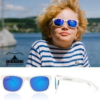 【瑞士SHADEZ】頂級偏光太陽眼鏡 3-16歲 透明框湛藍(台灣製造 鏡架可彎)