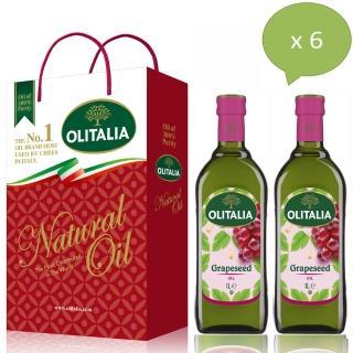 【Olitalia 奧利塔】超值葡萄耔油禮盒組(1000mlx12瓶-6禮盒裝)