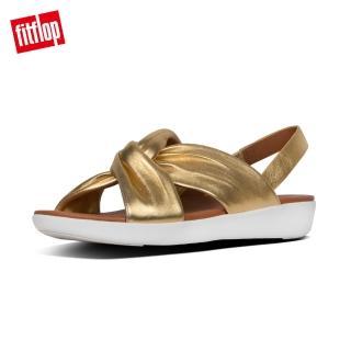 【FitFlop】TWINE LEATHER BACK-STRAP SANDALS 時尚扭結後帶涼鞋-女(金色)