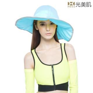 【HOII光美肌】HOII后益先進光學布-范冰冰愛用美膚光防曬荷葉邊花瓣帽-大款-UPF50抗UV涼感(藍光)