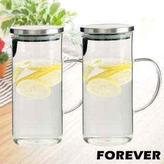 【日本FOREVER】耐熱玻璃水壺 1L 2入套組(手柄圓型款)