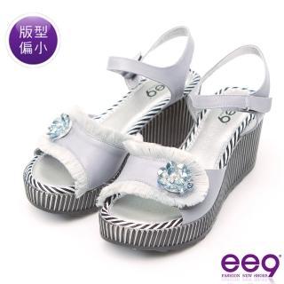 【ee9】MIT經典手工花漾年華鏤空露趾楔型跟涼鞋 灰色(涼鞋)