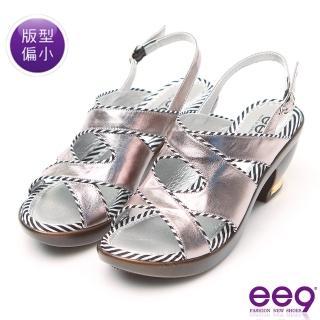 【ee9】MIT經典手工 微透裸肌魚口防滑粗跟涼鞋 灰色(涼鞋)