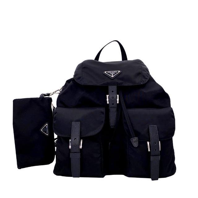 【PRADA 普拉達】1BZ811 黑 中型 經典三角牌(尼龍雙口袋後背包-附萬用小袋)