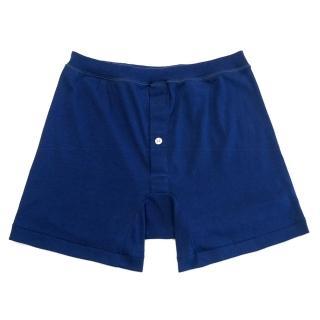 【Gunze 郡是】男士前開襠純棉四角褲-藍(SA861-BLU)